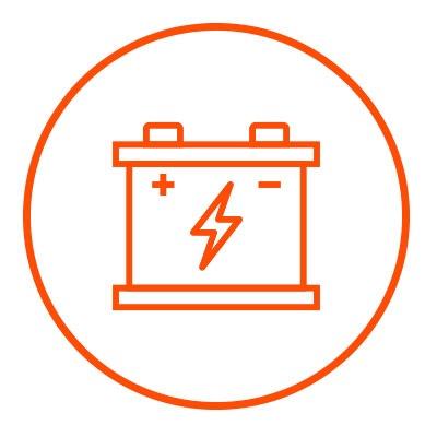Icono naranja de bateria en zacua, auto eléctrico mexicano