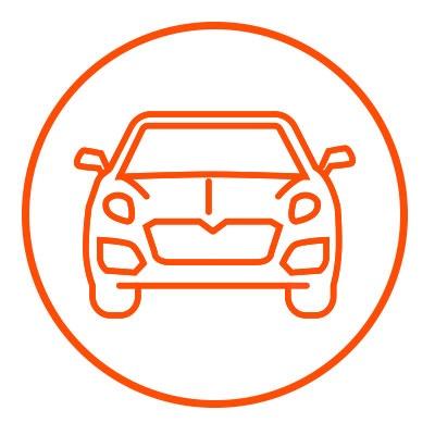 Icono naranja de chasis en zacua, auto eléctrico mexicano