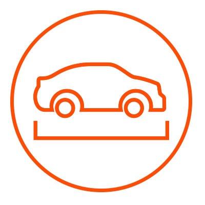 Icono naranja de dimensiones en zacua, auto eléctrico mexicano