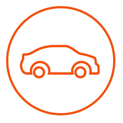 Icono naranja de exterior en zacua, auto eléctrico mexicano