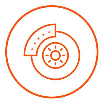 Icono naranja de frenos en zacua, auto eléctrico mexicano