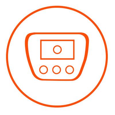 Icono naranja de interior en zacua, auto eléctrico mexicano