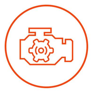 Icono naranja de motor en zacua, auto eléctrico mexicano