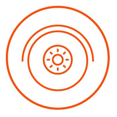 Icono naranja de neumaticos en zacua, auto eléctrico mexicano