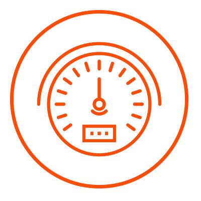 Icono naranja de performance en zacua, auto eléctrico mexicano