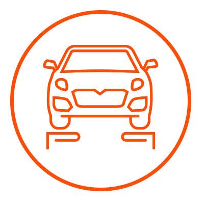 Icono naranja de peso en zacua, auto eléctrico mexicano