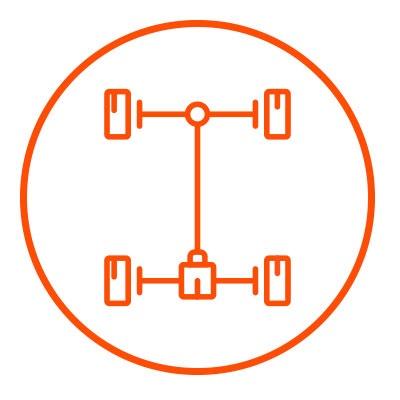 Icono naranja de transmision en zacua, auto eléctrico mexicano
